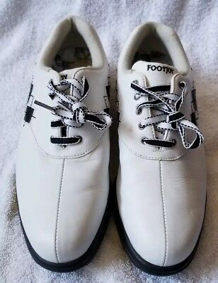 Argyle Golf Schuhe (FootJoy Comfort Argyle Stitch Black White Women's Golf Shoe Size 8.5 M 98522 EUC)