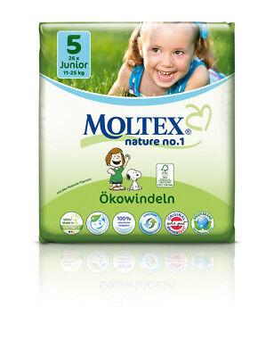 4er Pack 104 St MOLTEX Nature No1 Peanuts Öko Babywindeln JUNIOR Gr 5 (11-25 kg)