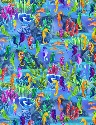Ocean scenic cotton Quilt fabric BTY Timeless Treasures Colorful SeaHorses for sale  Shipping to India