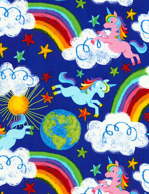 Unicorn Fabric, Rainbows and Unicorns, By the Yard, Royal Blue, TheFabricEdge](Unicorn And Rainbows)