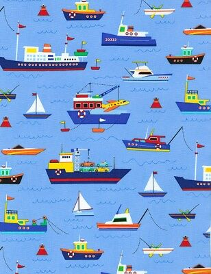 nautical fabric tugboat ship boat sailboat blue