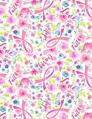 Breast Cancer Awareness Fabric - Evie Pink Ribbon Floral Timeless Treasures YARD Breast Cancer Awareness Fabric