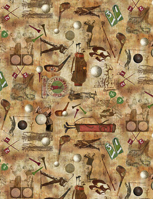 Vintage Golf Themed Fabric- on Coffee Background, Golfers, Balls, Tees, Clubs ](Golf Theme)