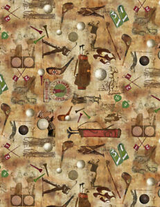 Vintage Golf Themed Fabric- on Coffee Background, Golfers, Balls, Tees, Clubs