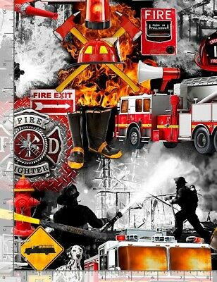 Fireman Fabric - Fire Truck Dalmatian Equipment Black - Timeless Treasures YARD