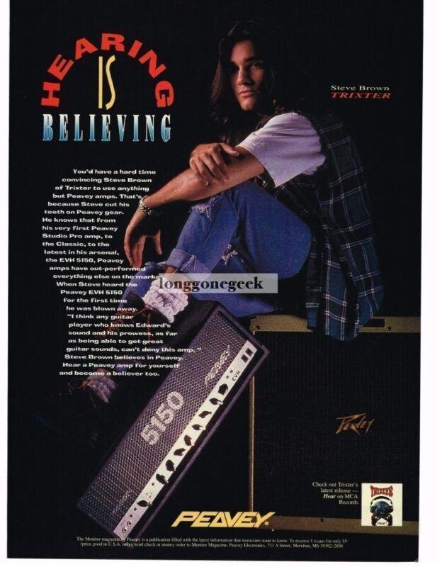 1993 Peavey Amplifiers Steve Brown Trixter Vintage Print Ad
