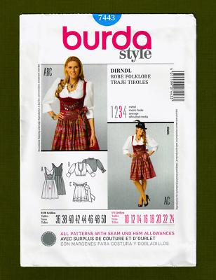 Burda Ladies Sewing Pattern 7443 Dirndl Dress with Apron Free UK P/&P B...