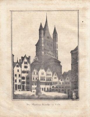 Köln Martins-Kirche Nordrhein Westfalen Orig Lithografie 1840