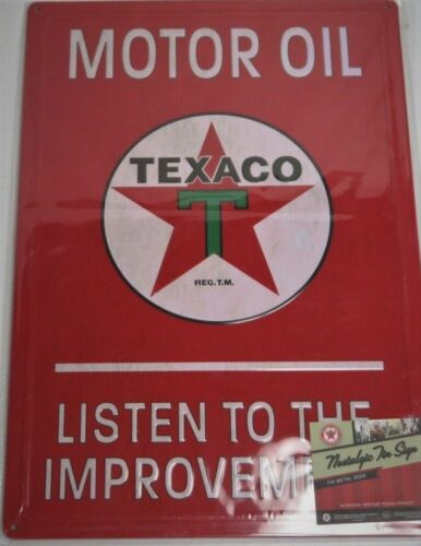 NEW RED Texaco Motor Oil Gasoline  Metal Sign Listen to the Improvement 12X17