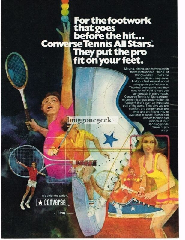 1975 Converse All Stars Tennis Sneakers art Vintage Ad