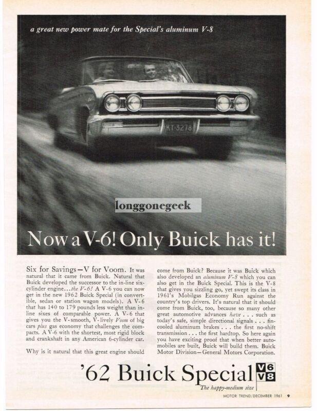 1962 Buick Special V6 or V8 Automobile Car Vintage Ad