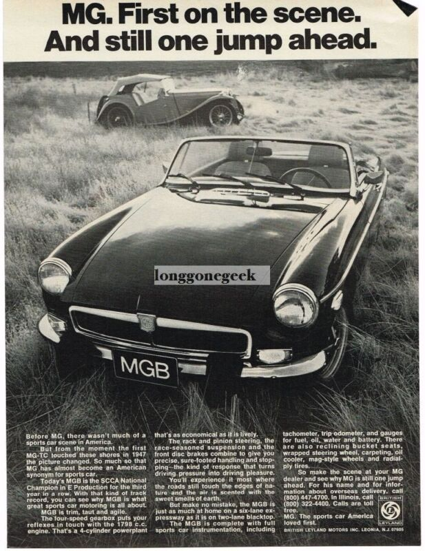 1974 MGB Roadster and 1947 MG-TC Vintage Print Ad