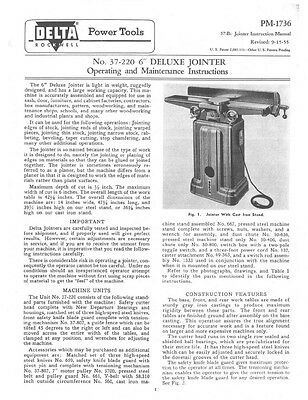 """Delta Rockwell No. 37-220 6"""" Deluxe Jointer Instructions"""