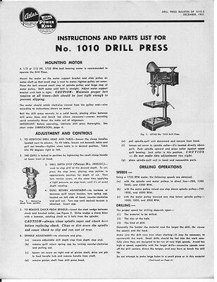1951 Atlas  Model 1010 Drill Press  Instructions