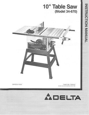 """Delta 34-670 10"""" Table Saw Instruction Manual"""