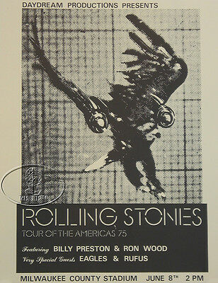 ROLLING STONES 1975 TOUR OF THE AMERICAS POSTER EAGLES RON WOOD BILLY PRESTON