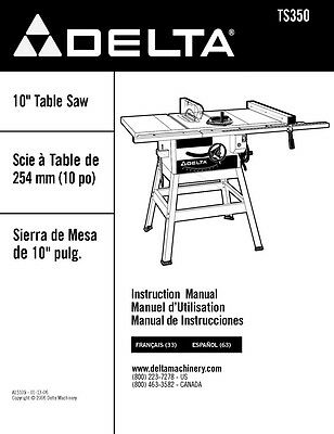 "Delta TS350 10"" Table Saw Instruction Manual"