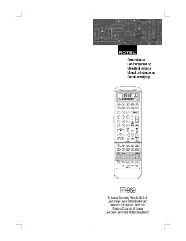 Rotel RR-969 Remote Control Owners Manual