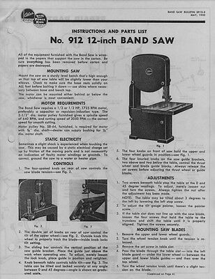 "1950 Atlas 912  12"" Band Saw  Instructions"