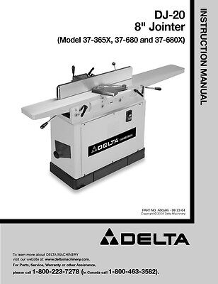 "Delta 37-365X 37-680 37-680X DJ-20 8"" Jointer Instruction Manual"