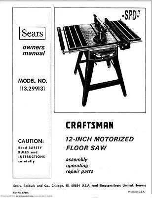 "1973 Craftsman 113.299131  12"" Table Saw Manual Instructions"