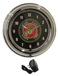 Marines USMC United States Marine Corps Neon Light Up Hanging Wall Clock