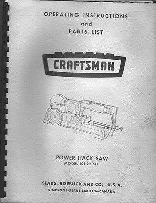 1973 Craftsman 101.22941  Power Hack Saw Instructions