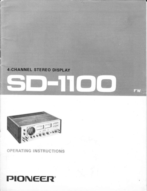 Pioneer SD-1100 4-Channel Stereo Display Owners Manual