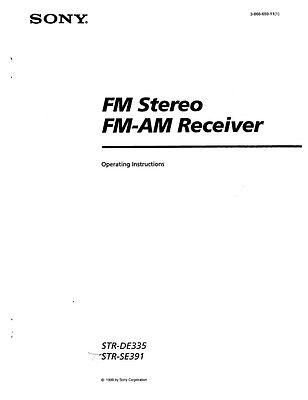 Sony STR-DE335 Amplifier / Receiver Owners Instruction Manual