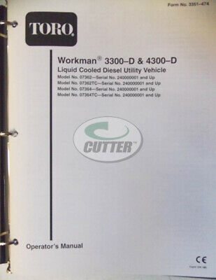Used Toro Workman 3300-d 4300-d Operators Manual 3351-474