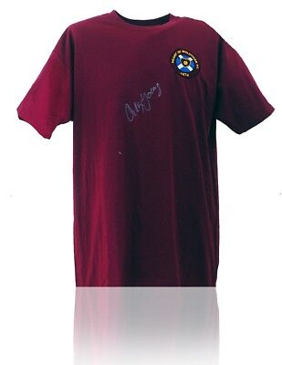 Heart of Midlothian Retro Shirt Hand Signed by Alex Young AFTAL COA Hearts