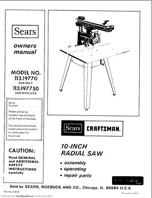"1978 Craftsman 113.19770 & 113.197750  10"" Radial Arm Saw Instructions"