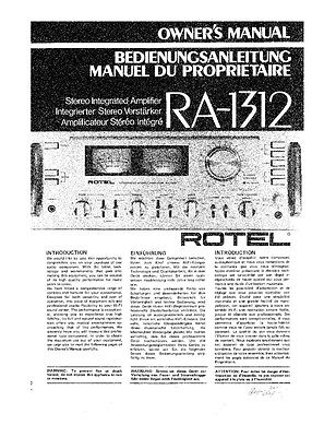 Rotel RA-1312 Amplifier Owners Manual