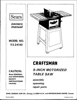 """1974 Craftsman 113.24140  9"""" Motorized Table Saw (SP3979-4) Instructions"""