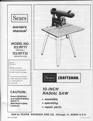1979 Craftsman 113 19771 or 113 197751 10-inch Radial Arm Saw Instructions
