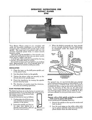 1950 Craftsman 9-2745 Rotary Planer Attachment Instructions