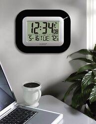 Atomic Large Number Self Set Clock Time Temp Digital Wall Hanging Standup BLACK