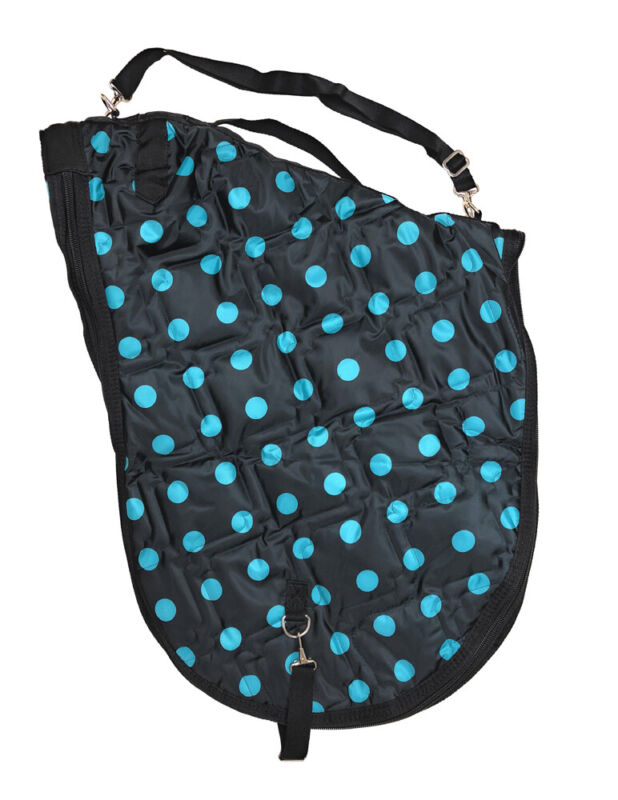 English Padded Saddle Carrier - Black with Turquoise Dots