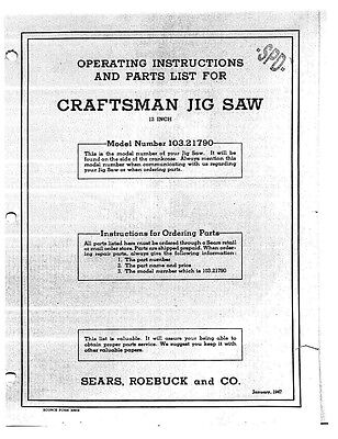 "1947 Craftsman 103.21790  or Dunlap 12"" Jig Saw Instructions"