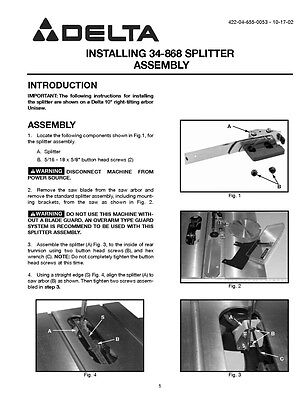 Delta Rockwell 34-868 Unisaw splitter assembly Instructions