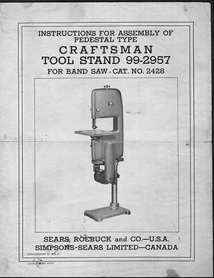 1950s Craftsman 99-2957  Pedestal Tool Stand for 2428 Band Saw Instructions