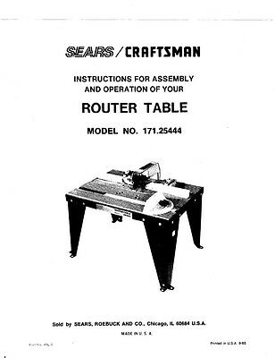 1985 Craftsman  Router Table Model No. 171.2544 Instructions