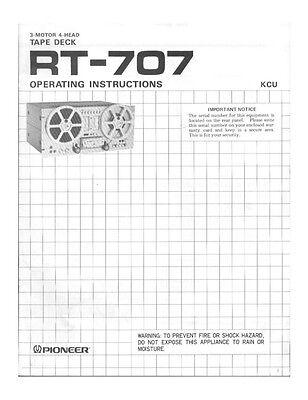 Pioneer RT-707 Tape Deck Owners Manual