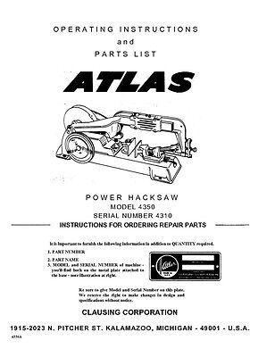 Atlas 4350  Power Hacksaw Manual  Instructions