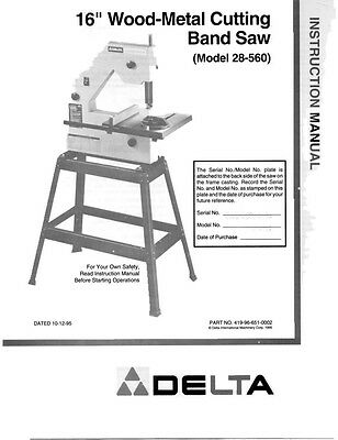 "Delta 28-560  16"" Wood-Metal Cutting Band Saw Instruction Manual"