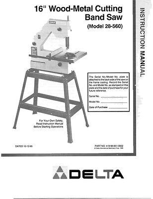 "Delta 28-560  16"" Wood-Metal Cutting Band Saw Instruction Manual"