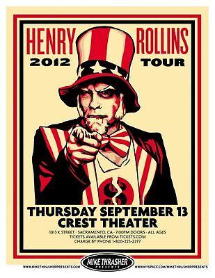 HENRY ROLLINS 2012 Gig POSTER Sacramento Concert