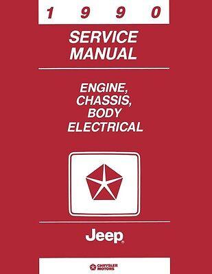 1990 Jeep Cherokee Comanche Wrangler Shop Service Repair Manual Book Guide OEM