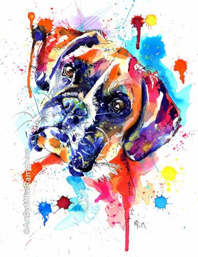 Boxer Dog Art Print Painting Artwork Gifts - Wall Art - Poster Gift