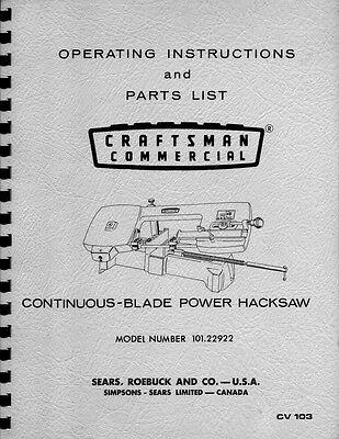 "1960s Craftsman 101.22922  3""x6"" Horizontal Band Saw Instr. & Parts List"